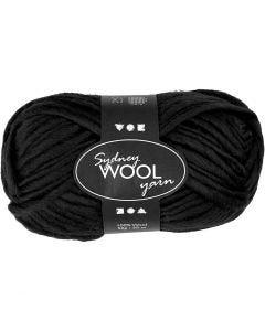 Sydney Yarn, L: 50 m, black, 50 g/ 1 ball