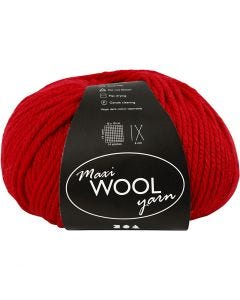 Wool yarn, L: 125 m, red, 100 g/ 1 ball