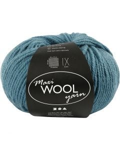 Wool yarn, L: 125 m, petrol, 100 g/ 1 ball