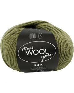 Wool yarn, L: 125 m, olive green, 100 g/ 1 ball
