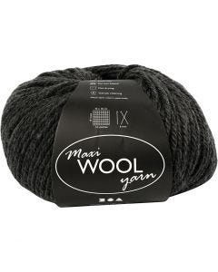 Wool yarn, L: 125 m, dark grey mixture, 100 g/ 1 ball