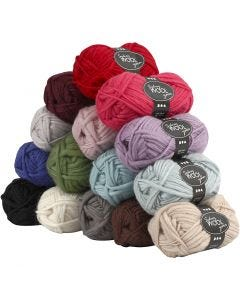 Sydney Yarn, L: 50 m, assorted colours, 15x50 g/ 1 pack