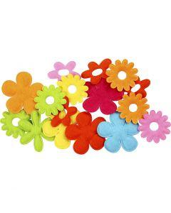 Felt Flowers, size 35x45 mm, 16 pc/ 1 pack