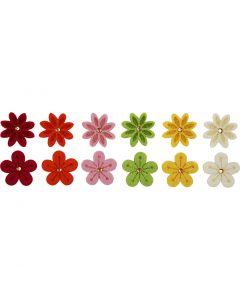 Felt Flowers, D: 30 mm, 12 pc/ 1 pack