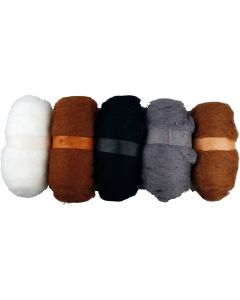 Carded Wool, natural, 5x100 g/ 1 pack