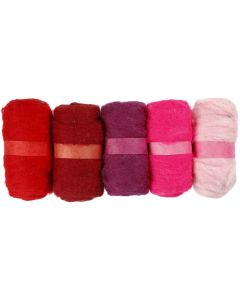 Carded Wool, red harmony, 5x100 g/ 1 pack