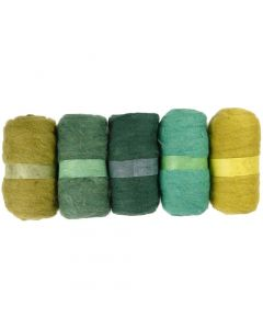 Carded Wool, green glitter, 5x100 g/ 1 pack