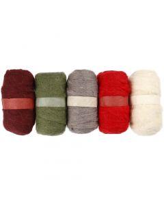Carded Wool, alizarin crimson hue (343), 5x100 g/ 1 pack