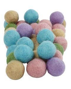 Felt balls, D: 20 mm, pastel yellow, 64 pc/ 1 pack