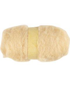 Carded Wool, light beige, 100 g/ 1 bundle