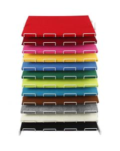 Craft Felt, 42x60 cm, thickness 3 mm, assorted colours, 120 sheet/ 1 pack