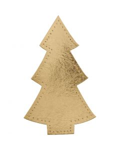 Christmas tree, H: 18 cm, W: 11 cm, 350 g, gold, 4 pc/ 1 pack