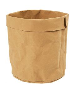 Faux Leather Storage Bag, H: 12 cm, D: 11 cm, 350 g, light brown, 1 pc