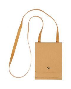 Faux Leather Shoulder Bag, H: 18 cm, L: 13 cm, 350 g, light brown, 1 pc