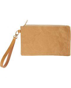 Faux Leather Clutch Bag, H: 18 cm, L: 21 cm, 350 g, light brown, 1 pc