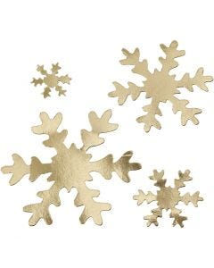 Snowflake, D: 3+5+8+10 cm, 350 g, gold, 16 pc/ 1 pack