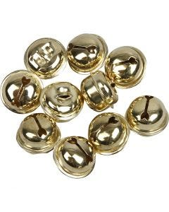 Bells, D: 13+15+17 mm, gold, 12 asstd./ 1 pack