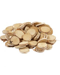 Wooden disc with hole, D: 35-45 mm, hole size 4 mm, thickness 7 mm, 500 g/ 1 pack