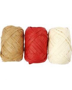 Raffia Ribbon, W: 6 mm, 3x10 m/ 1 pack
