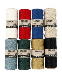 Bamboo Cord, thickness 1 mm, assorted colours, 8x65 m/ 1 set