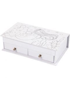 Jewellery Box, H: 5 cm, size 18x10,5 cm, white, 1 pc