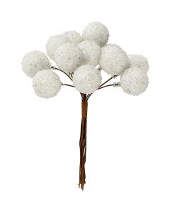 Artificial berries, D: 15 mm, white, 12 pc/ 1 pack