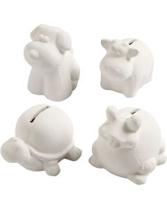 Animal Saving Banks, H: 7-10 cm, white, 4 pc/ 1 box
