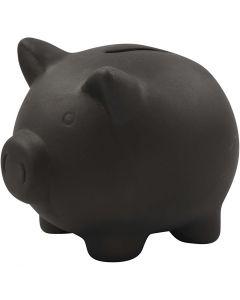 Piggy Bank, H: 10 cm, L: 10,5 cm, black, 8 pc/ 1 box