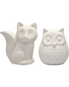 Animal Saving Banks, H: 9 cm, white, 2 pc/ 1 box