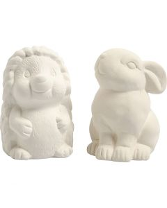 Animal Saving Banks, H: 10 cm, white, 2 pc/ 1 box