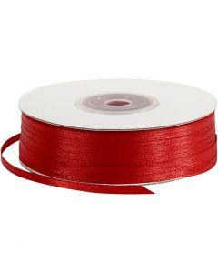 Satin Ribbon, W: 3 mm, red, 100 m/ 1 roll