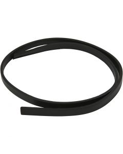 Faux Leather Belt, W: 10 mm, thickness 3 mm, black, 1 m/ 1 pack