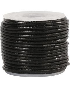 Leather Cord, thickness 1 mm, black, 10 m/ 1 roll