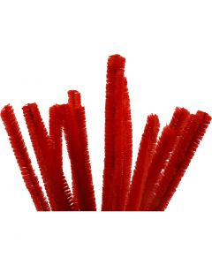 Pipe Cleaners, L: 30 cm, thickness 15 mm, red, 15 pc/ 1 pack