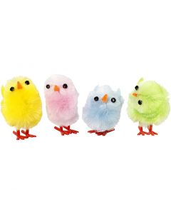 Easter Chicks, H: 30 mm, pastel colours, 12 pc/ 1 pack