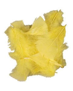 Feathers, size 7-8 cm, yellow, 50 g/ 1 pack