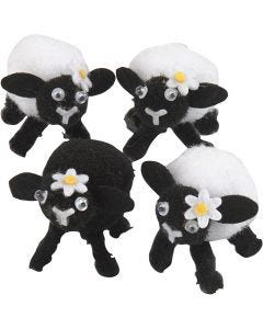 Easter lambs, H: 35 mm, black, white, 4 pc/ 1 pack
