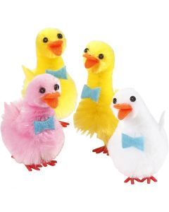 Easter ducks, H: 50 mm, light red, white, yellow, 4 pc/ 1 pack