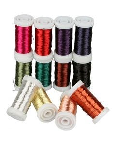 Soft Jewellery Wire - Assortment, thickness 0,5 mm, assorted colours, 12x50 m/ 1 pack