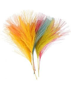 Artificial feathers, L: 15 cm, W: 8 cm, assorted colours, 10 pc/ 1 pack