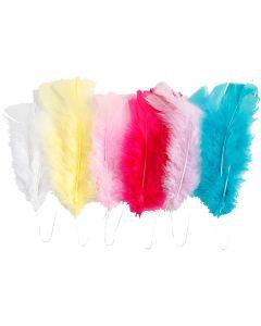 Feathers, L: 11-17 cm, assorted colours, 18 bundle/ 1 pack