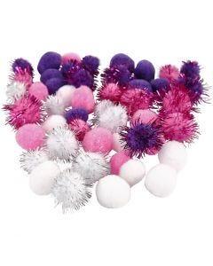 Pompoms, D: 15+20 mm, purple, light red, white, 48 asstd./ 1 pack