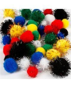 Pompoms, D: 15+20 mm, assorted colours, 48 asstd./ 1 pack