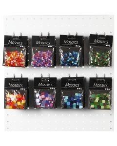 Mini Mosaic, size 5x5+10x10 mm, blue/green harmony, green glitter, lilac/dark lilac, red/orange harmony, 80 pack/ 1 pack