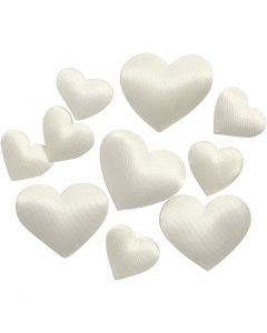 Satin Hearts, size 10+20 mm, off-white, 70 pc/ 1 pack