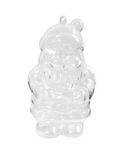 Santa Claus Bauble, H: 13,5 cm, transparent, 2 pc/ 1 pack