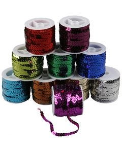 Sequined Ribbon, W: 6 mm, metallic colours, 10x10 m/ 1 pack