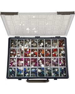 Rhinestones, D: 6-16 mm, assorted colours, 32x360 pc/ 1 pack