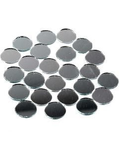 Mirror Mosaic Tiles, round, D: 18 mm, 400 pc/ 1 pack