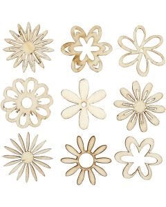 Wooden decorations, flowers, size 28 mm, 45 pc/ 1 pack